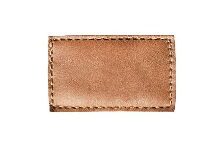 Blank brown leather label on white background