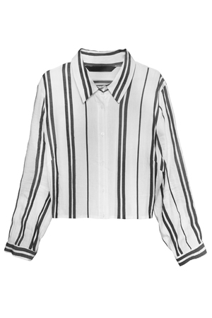 White striped linen shirt isolated over white