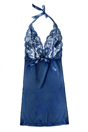 Blue silk lacy halter nightdress isolated over white Banco de Imagens - 99641733