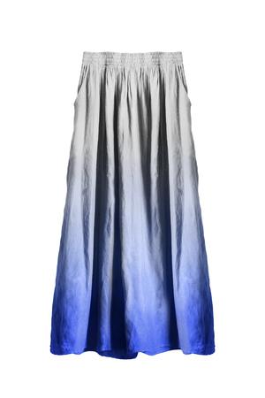 Long flared blue and white linen skirt on white background Standard-Bild