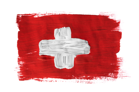 Swiss national flag painted on white background