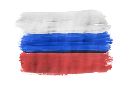 Russian national tricolor painted on white background