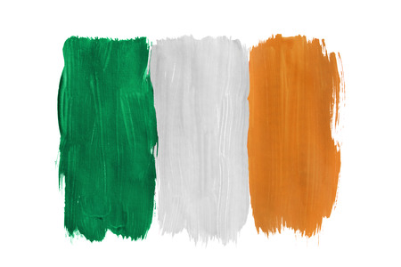 National Irish tricolor painted on white background