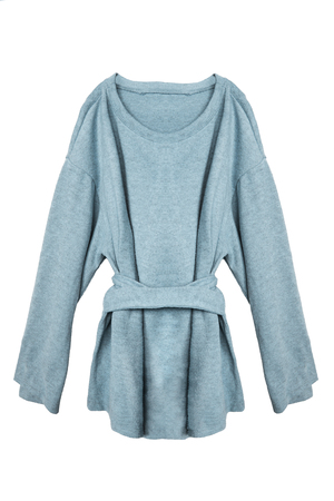 Blue oversized cashmere pullover with a belt isolated over white Imagens