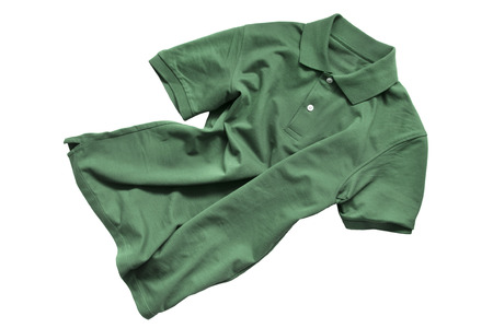 Green crumpled cotton shirt isolated over white