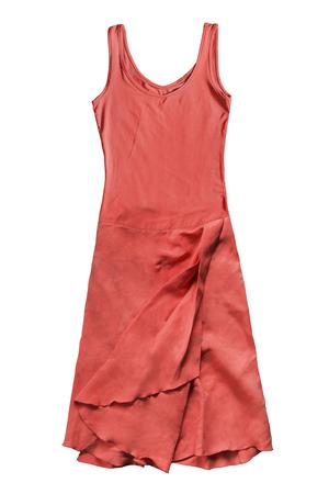 Red silk sleeveless sundress isolated over white