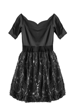 Little black dress with lacy skirt isolated over white Standard-Bild