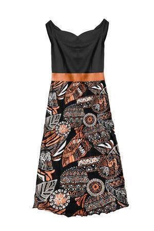 Elegant black and orange sleeveless sundress on white background Banco de Imagens