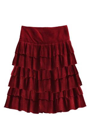 Red velvet skirt with ruches isolated over white