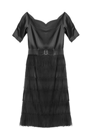Black silk elegant dress with fringe skirt isolated over white