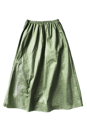 Green khaki flared knee length linen skirt on white background