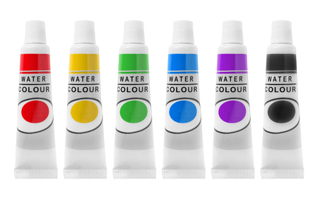 Six colorful watercolor paint tubes on white background