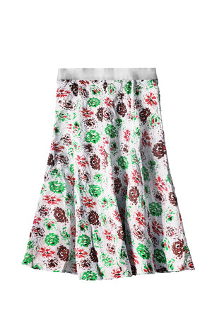 Flared cotton colorful floral skirt isolated over white Stock Photo