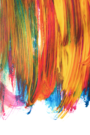 Gouache colorful abstract painting on white background
