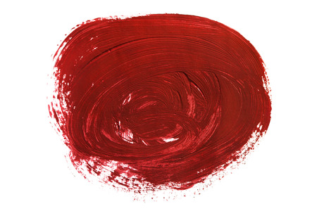 Red gouache paint blob isolated over white Stock Photo