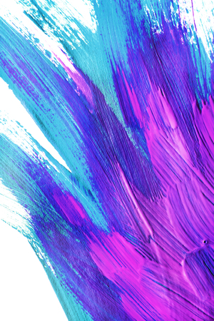 Acrylic painting in shades of blue and pink on white as a background Stock Photo