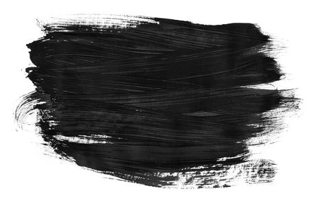 Black gouache paint blob on white background