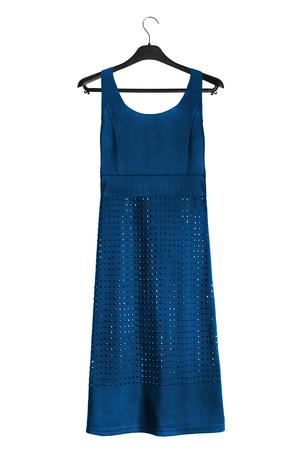 Blue elegant dress with rhinestones on black clothes rack isolated over white Standard-Bild
