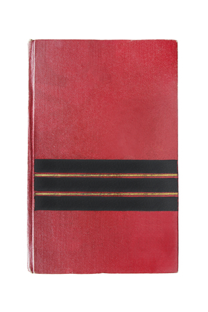 Old red blank cover book isolated over white