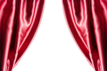 Red satin curtains closeup on white background Reklamní fotografie