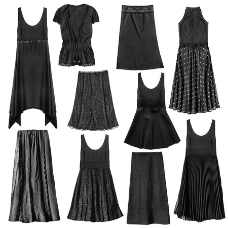 Set of black woman clothes isolated over white