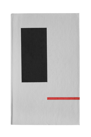 Book with blank grey cover isolated over white