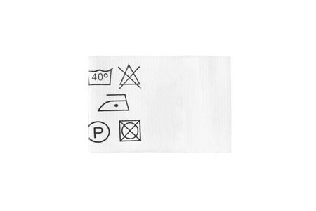 Care clothes label isolated over white Stockfoto