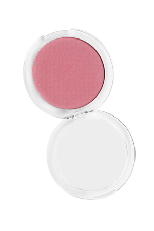 Pink mat blush in round opened box isolated over white