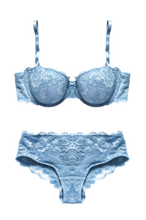Blue lacy lingerie set isolated over white