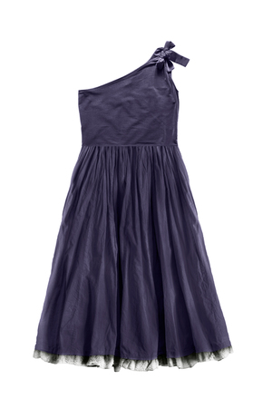 Dark purple one shoulder flared dress isolated over white