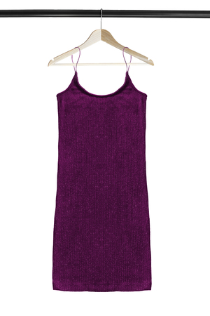Purple knitted sleeveless dress hanging on wooden clothes rack isolated over white Stock Photo
