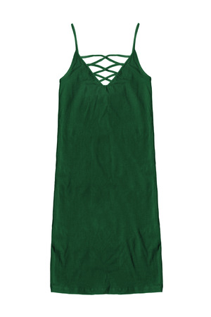 Dark green cotton sundress with laces on white background