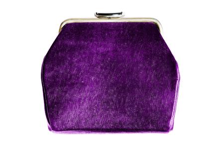 7d4e10e9211a Elegant purple shiny handbag isolated over white Stock Photo