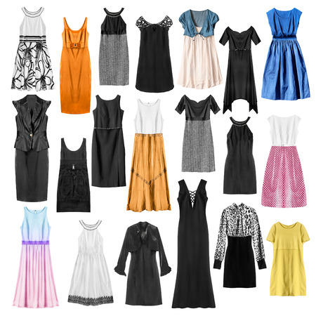 Set of colorful dresses and gown isolated over white