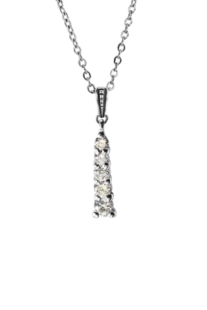 Diamond pendant hanging on silver chain isolated over white Imagens