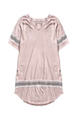 Pink oversized t-shirt dress on white background 免版税图像