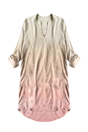 Silk oversized pink and beige dress on white background