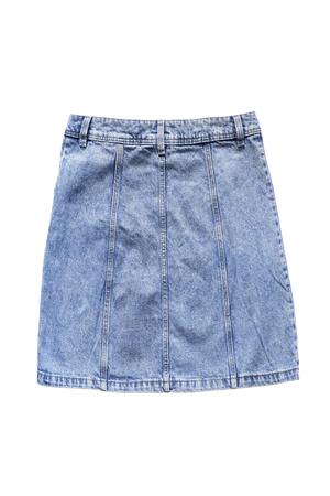 Blue denim basic mini skirt isolated over white