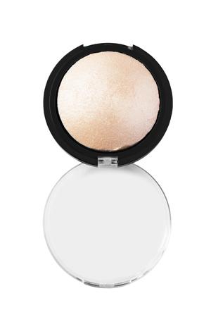 Golden powder highlighter opened box on white background