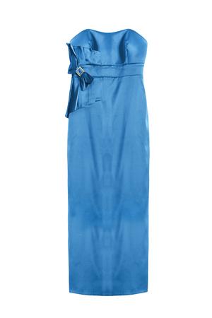 Elegant blue satin long strapless gown on white background Stock Photo