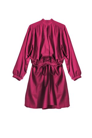 Pink silk mini shirt dress isolated over white Stock Photo
