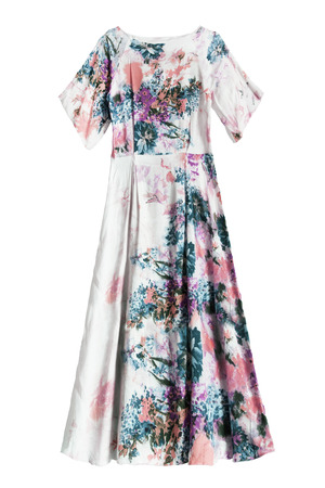 Elegant long silk floral gown isolated over white