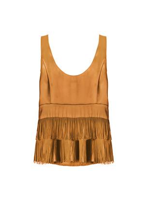 Golden satin fringe sleeveless top isolated over white