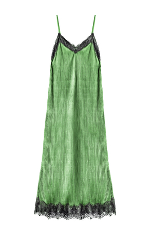 Green satin long nightgown isolated over white