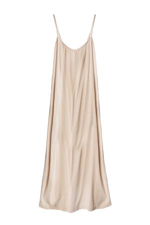 Beige silk long draped dress isolated over white Standard-Bild