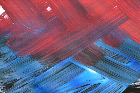 Rote und blaue abstrakte Gouachemalerei Nahaufnahme als Hintergrund