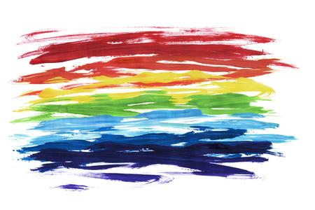 Abstrakte regenbogenfarbene Malerei Pinselstriche auf weißem Hintergrund