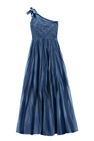 Elegant blue one shoulder flared gown isolated over white
