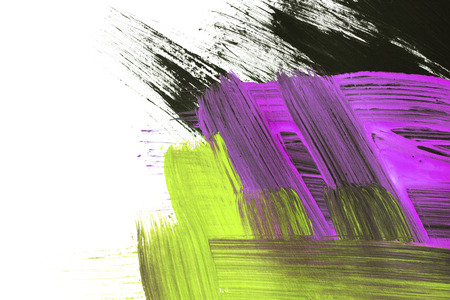 Colorful acrylic paint brush strokes on white as a background