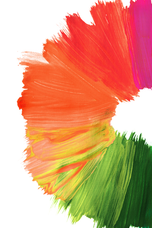 Pink to green paint abstract brush strokes on white background